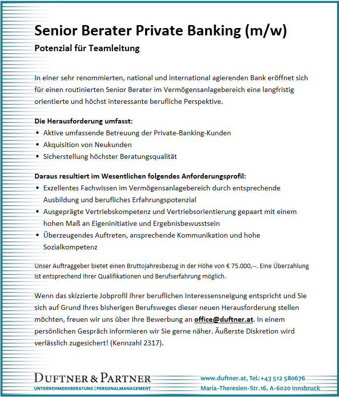 Senior Berater Private Banking (m/w)