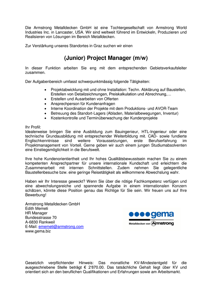 (Junior) Project Manager (m/w)