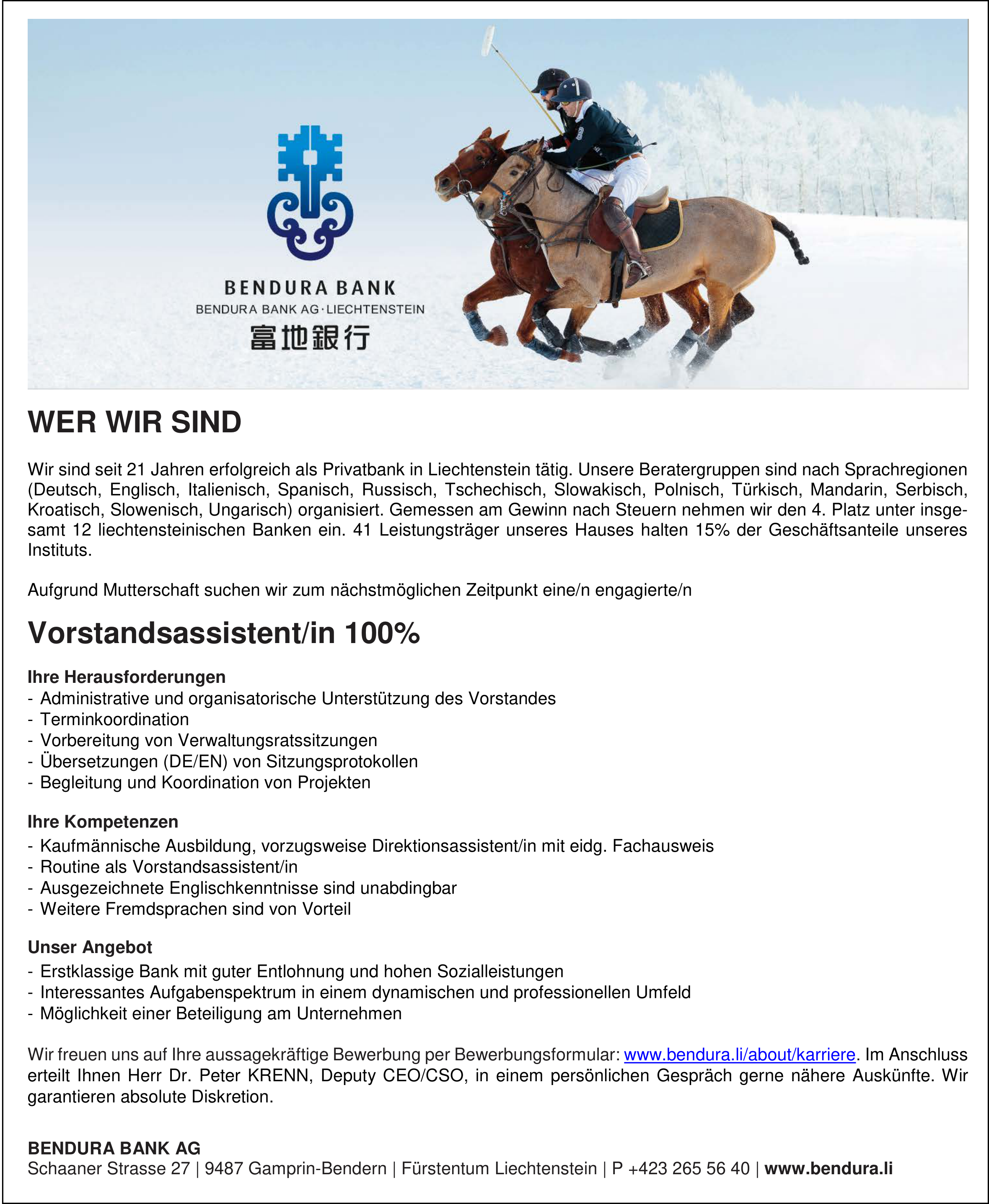 Vorstandsassistent/in 100%