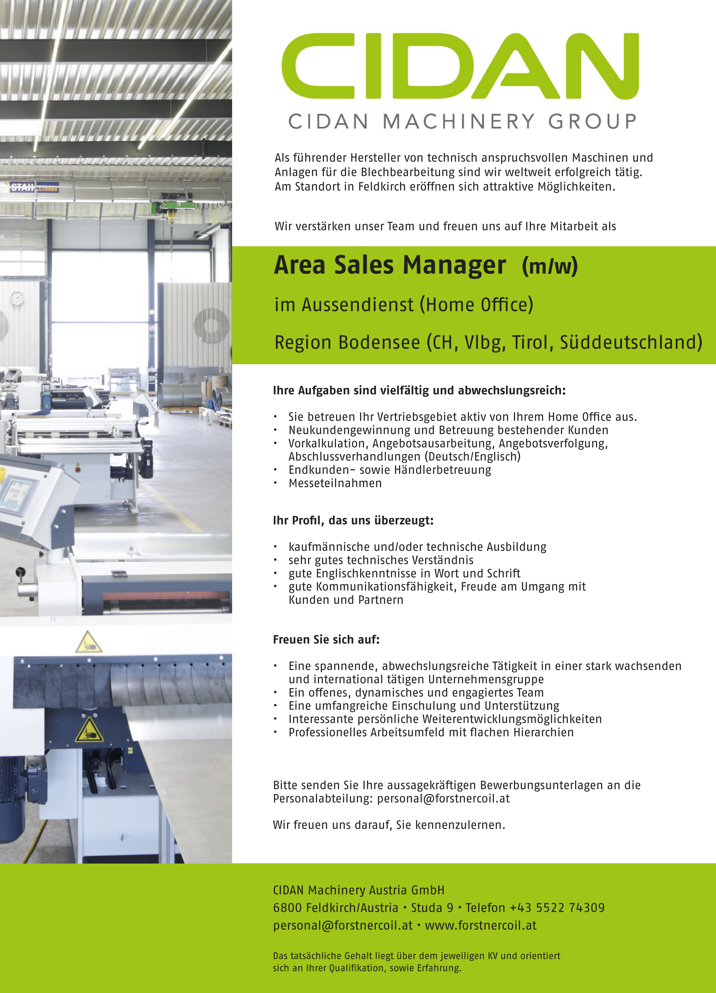 Area Sales Manager (m/w)(Home Office) Region AT / DE / CH
