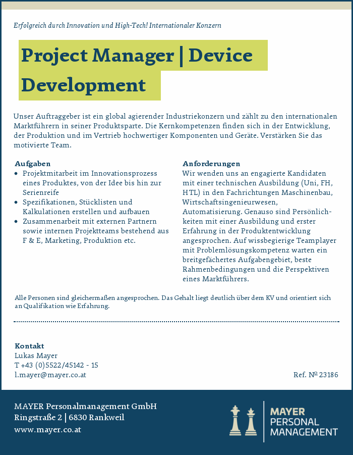 Project Manager | Device Development