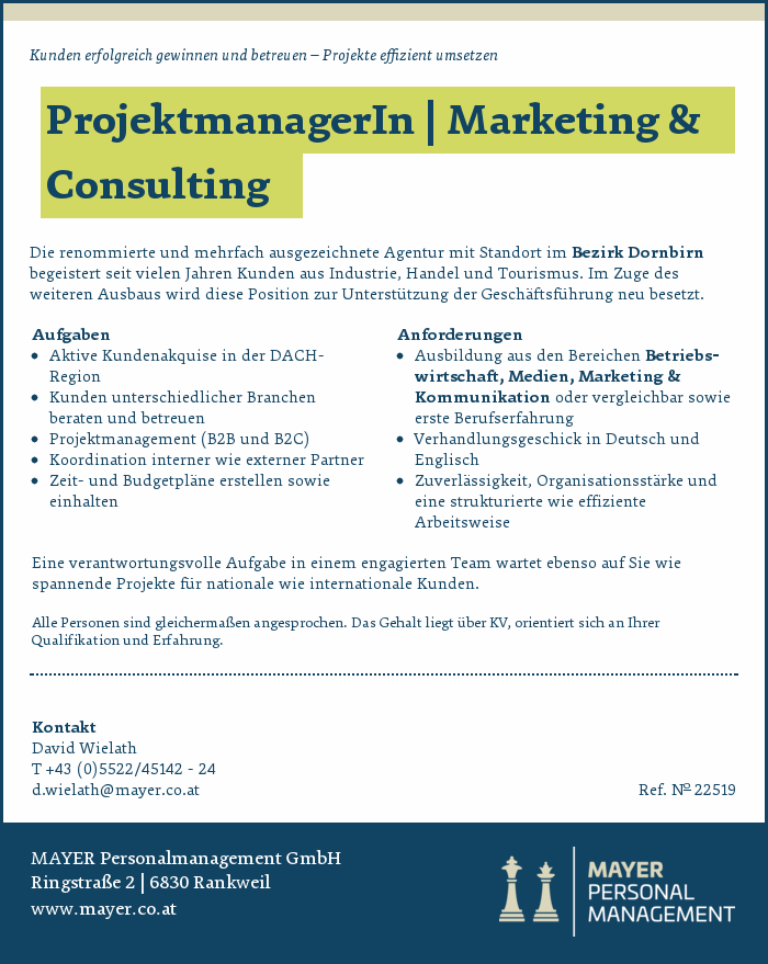 ProjektmanagerIn | Marketing & Consulting
