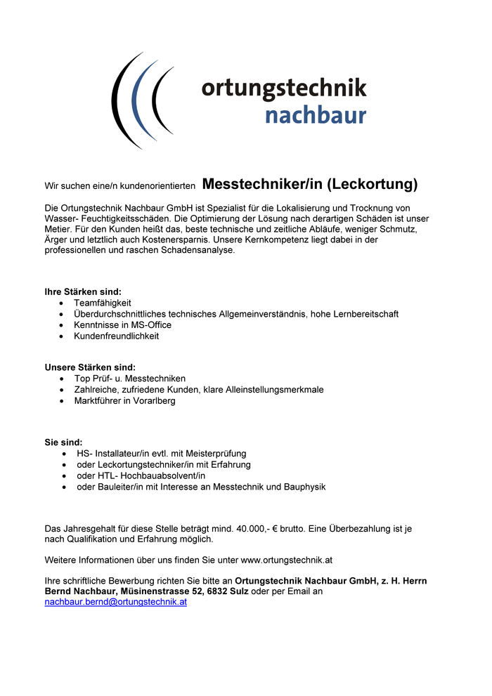 Messtechniker (Leckortung)