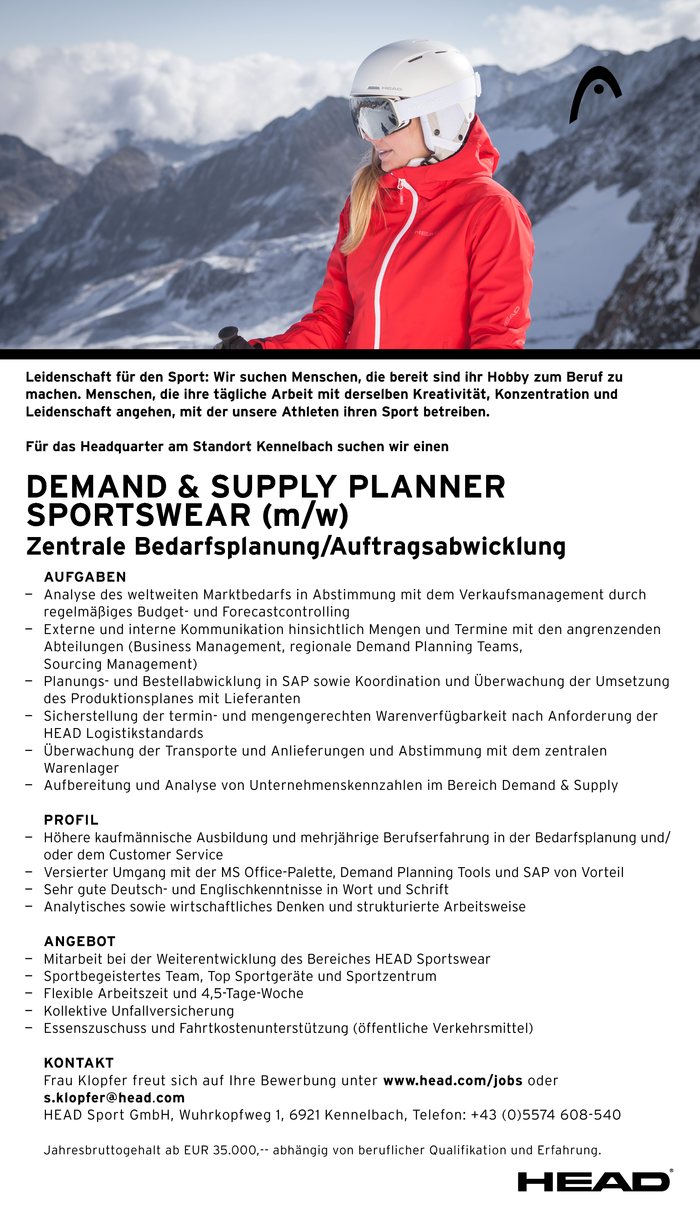 Demand & Supply Planner Sportswear (m/w)