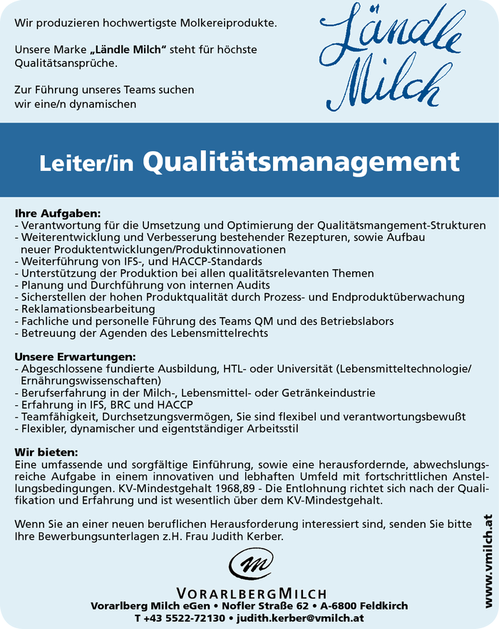 Leiter/in Qualitätsmanagement