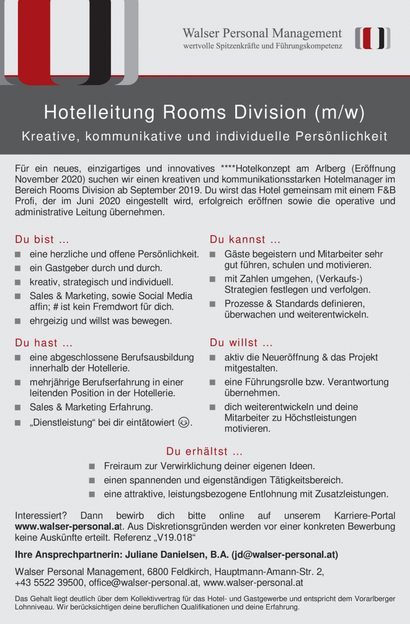 Hotelleitung Rooms Division (m/w)