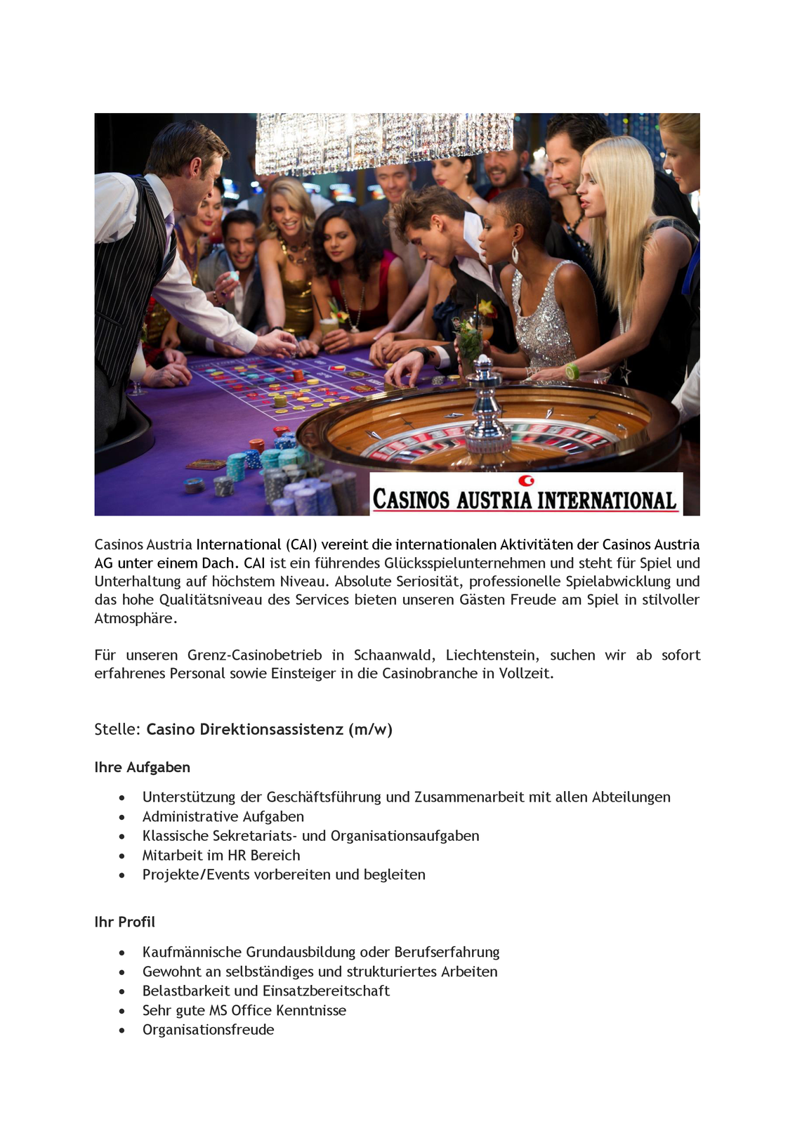Casino Direktionsassistenz (m/w)