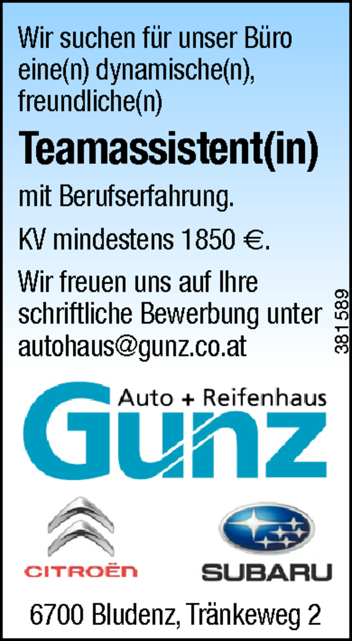 Teamassistent/in