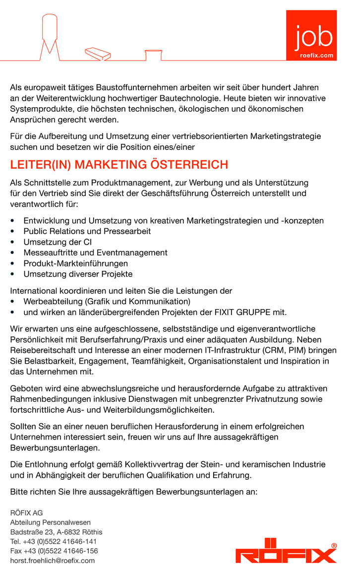 LEITER(IN) MARKETING ÖSTERREICH
