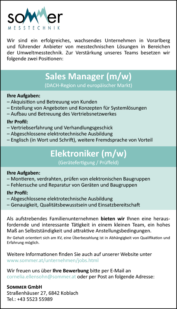 Sales Manager/in, Elektroniker/in