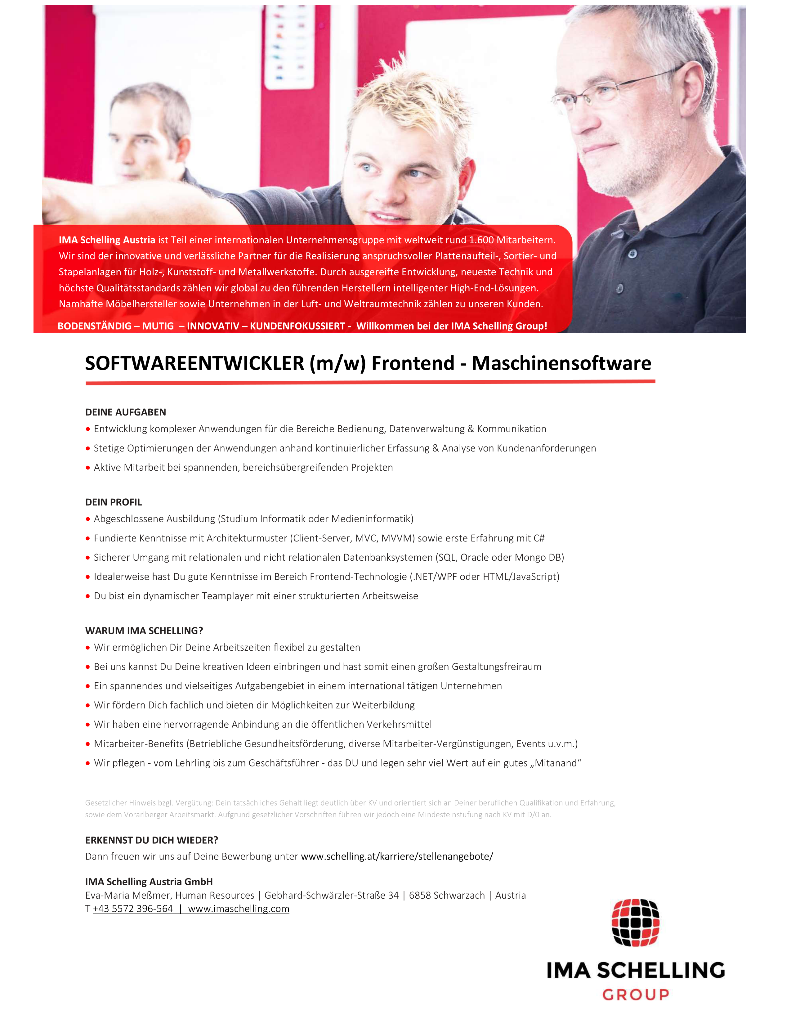 Softwareentwickler (m/w) Frontend - Maschinensoftware