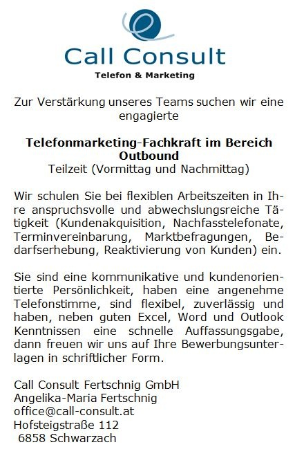 Telefonmarketing-Fachkraft im Bereich Outbound