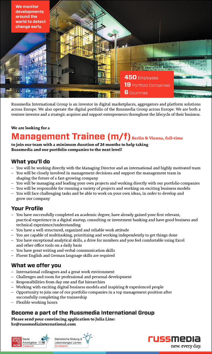 Management Trainee (m/f)Berlin & Vienna, full-time
