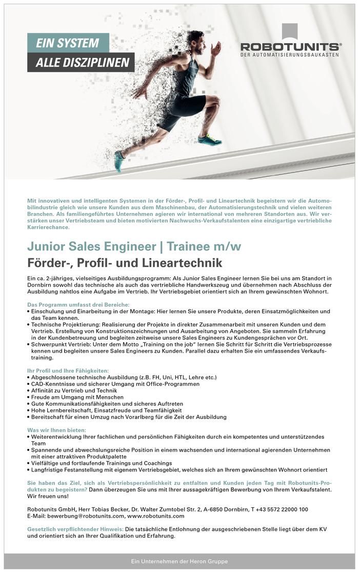 junior sales engineer trainee mw - Bewerbung Trainee