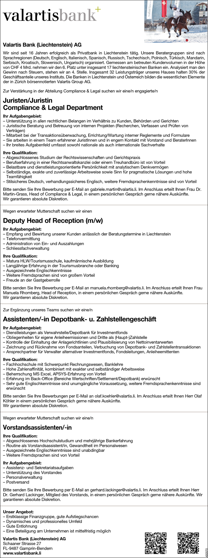 Jurist/in, Deputy Head of Reception, Assistenten/in, Vorstandsassistenten/in
