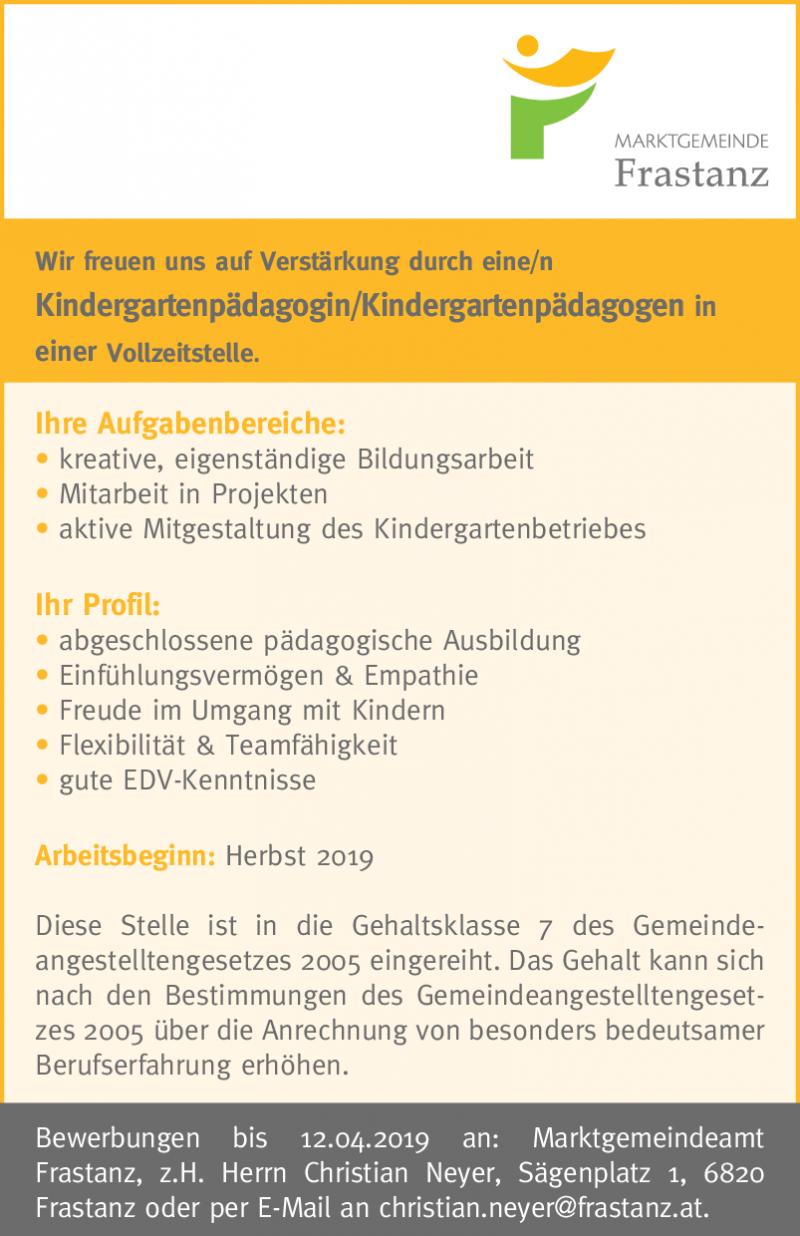 Kindergartenpädagoginkindergartenpädagoge Vollzeit Vorarlberg