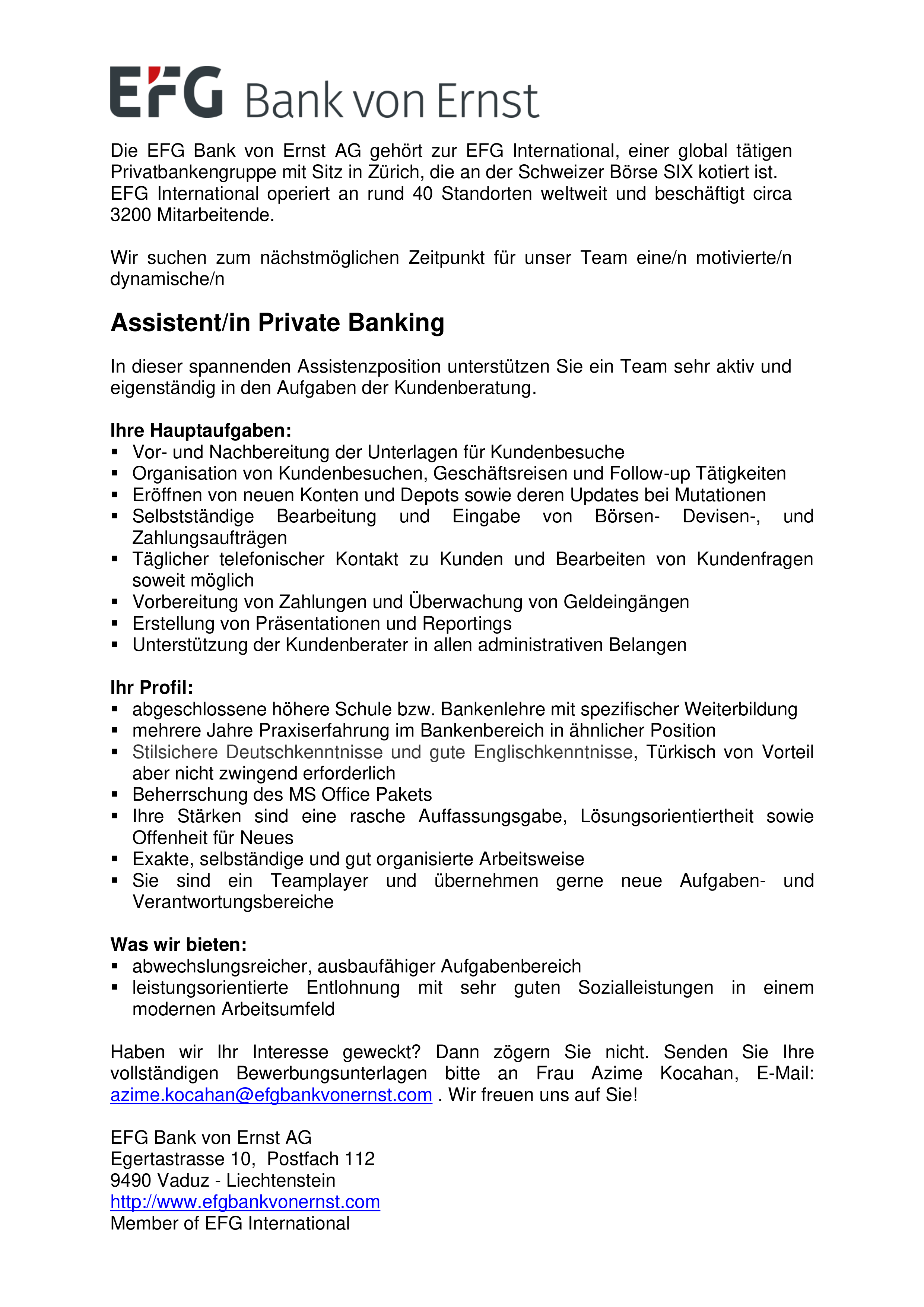 Assistent/in Private Banking