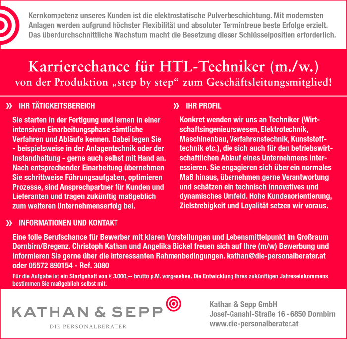 Karrierechance für HTL-Techniker (m./w.)