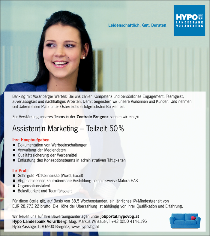AssistentIn Marketing – Teilzeit 50 %