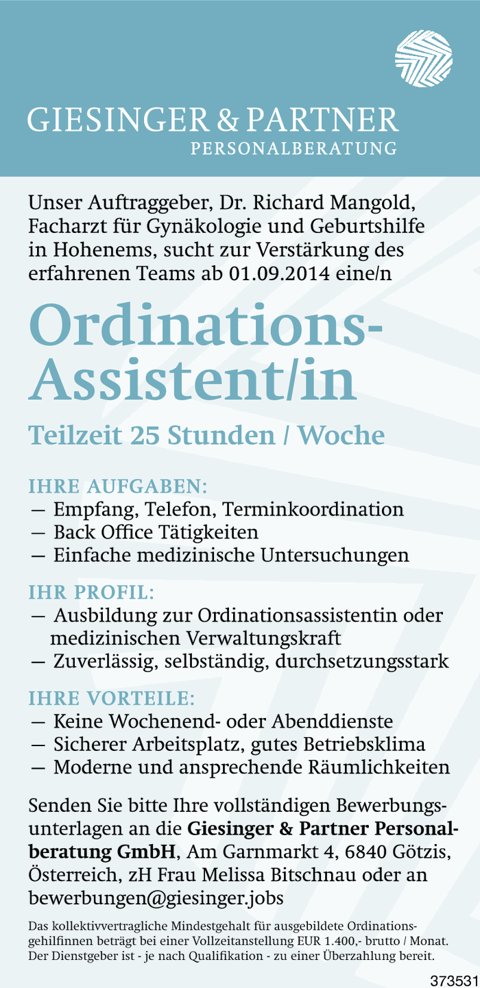 Ordinationsassistent/in
