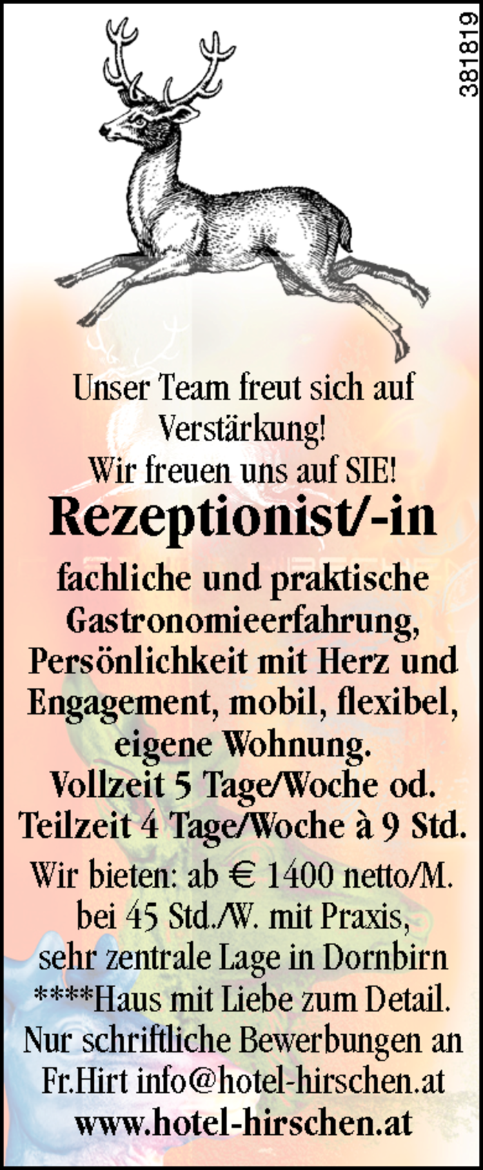 Rezeptionist/in