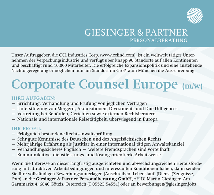 Corporate Counsel Europe (m/w)