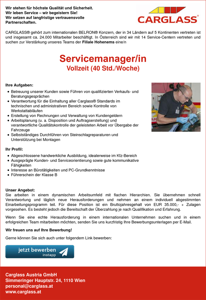 Servicemanager/in