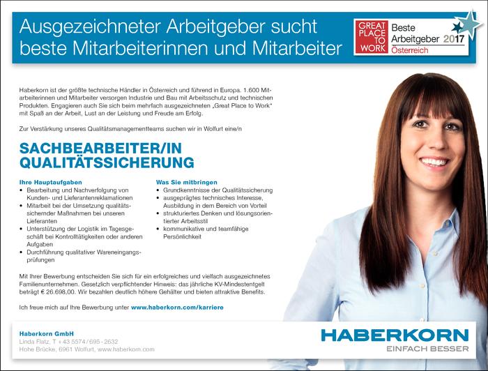 Sachbearbeiter/in Qualitätssicherung - Wolfurt - Jobs in Vorarlberg