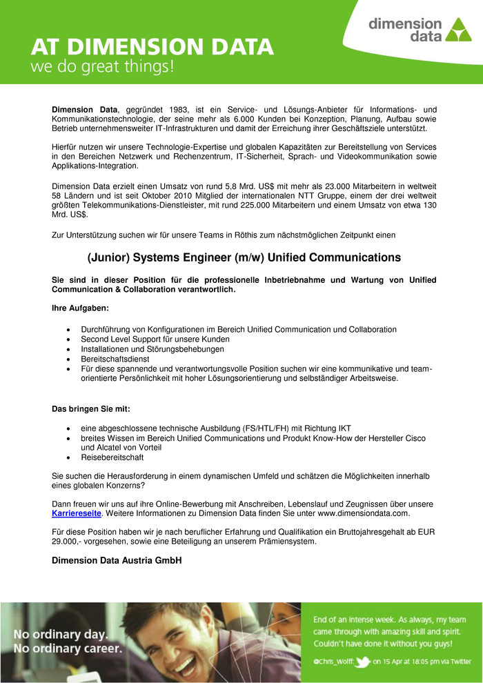 (Junior) Systems Engineer (m/w) Unified Communications