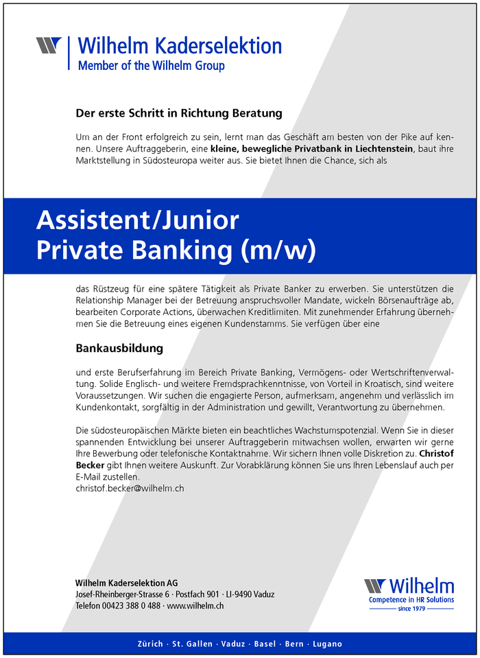 Assistent/Junior Private Banking (m/w)