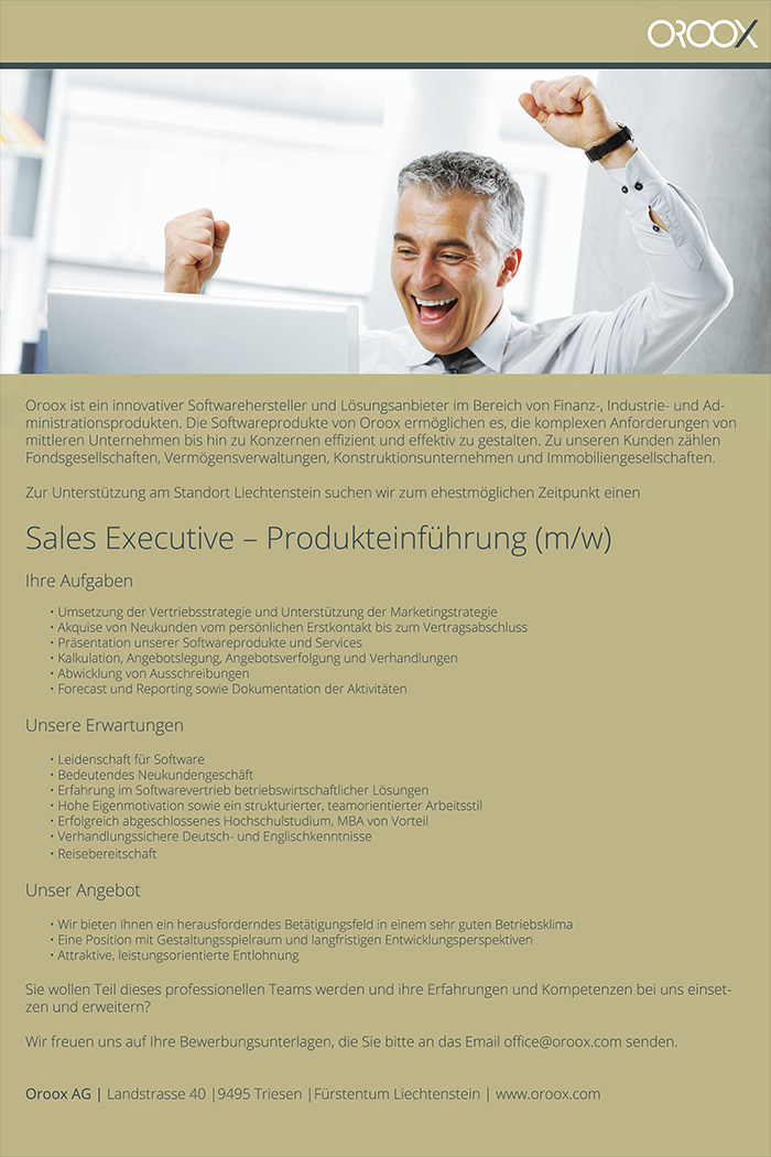 Sales Executive – Produkteinführung (m/w)