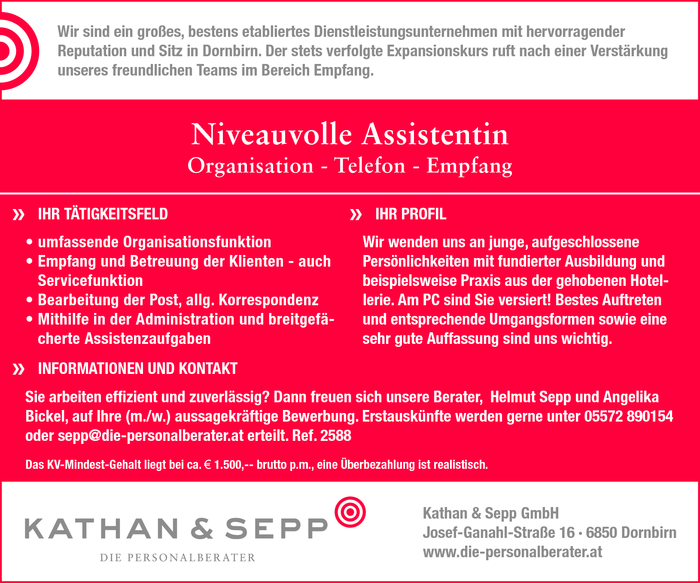 Niveauvolle Assistent/in