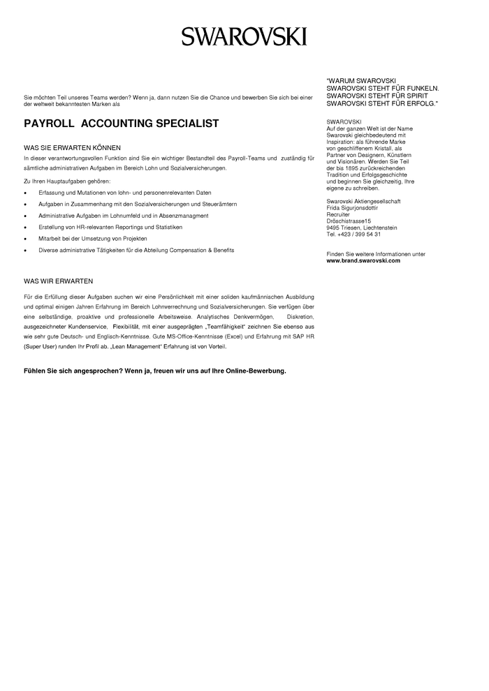 PAYROLL  ACCOUNTING SPECIALIST