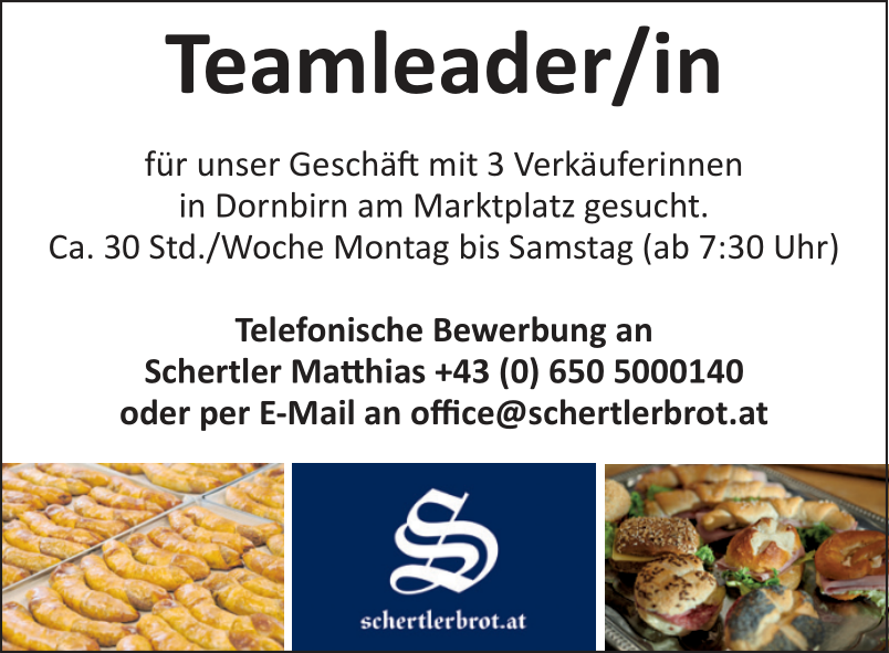 Teamleader/in in der Schertler-Filiale in Dornbirn