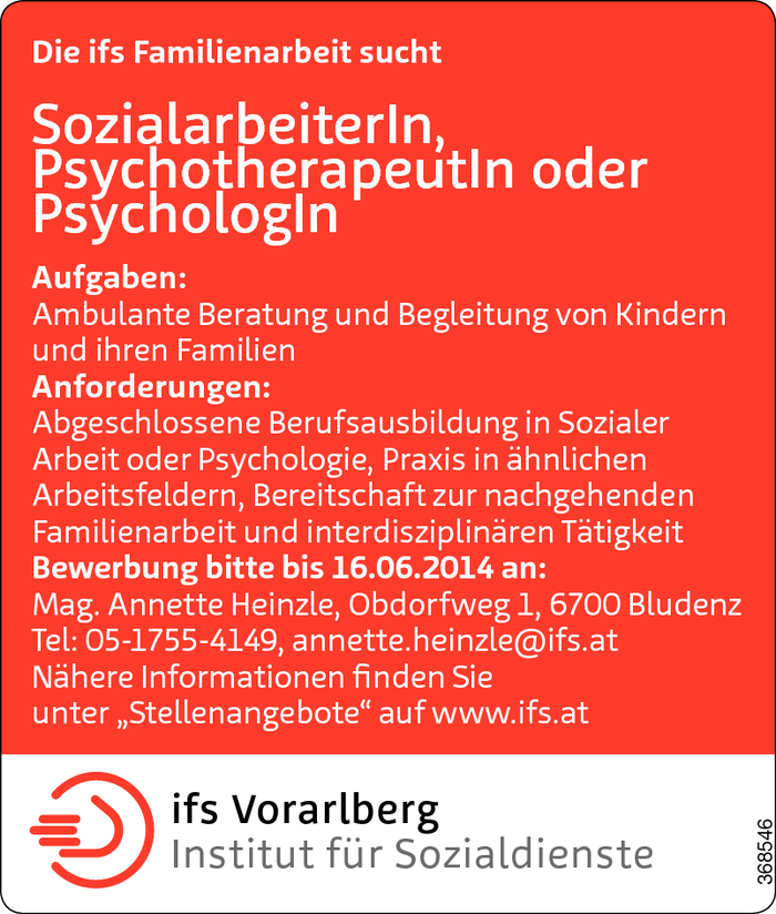 Sozialarbeiter/in / Psychotherapeut/in / Psycholog/in