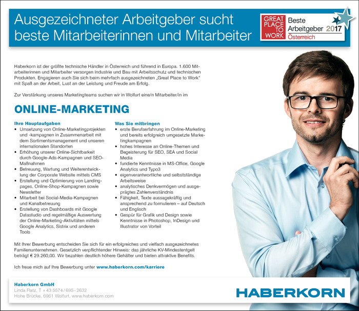 Mitarbeiter/in im Online Marketing