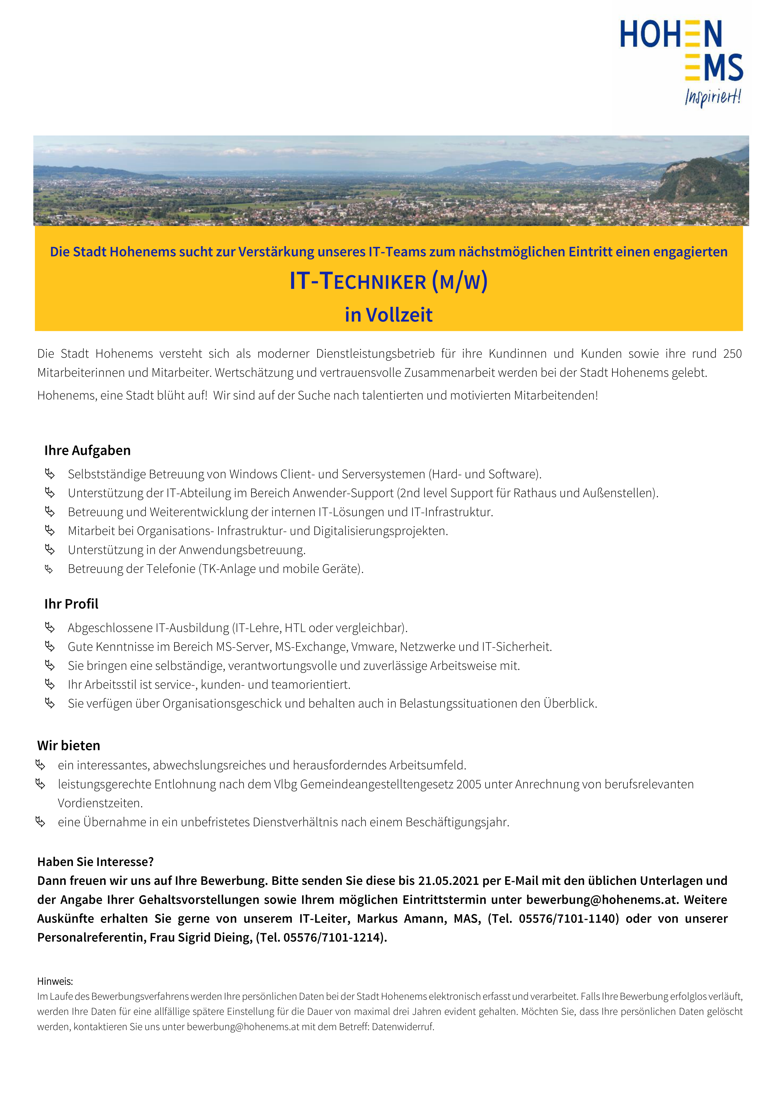 IT-TECHNIKER (M/W) in Vollzeit