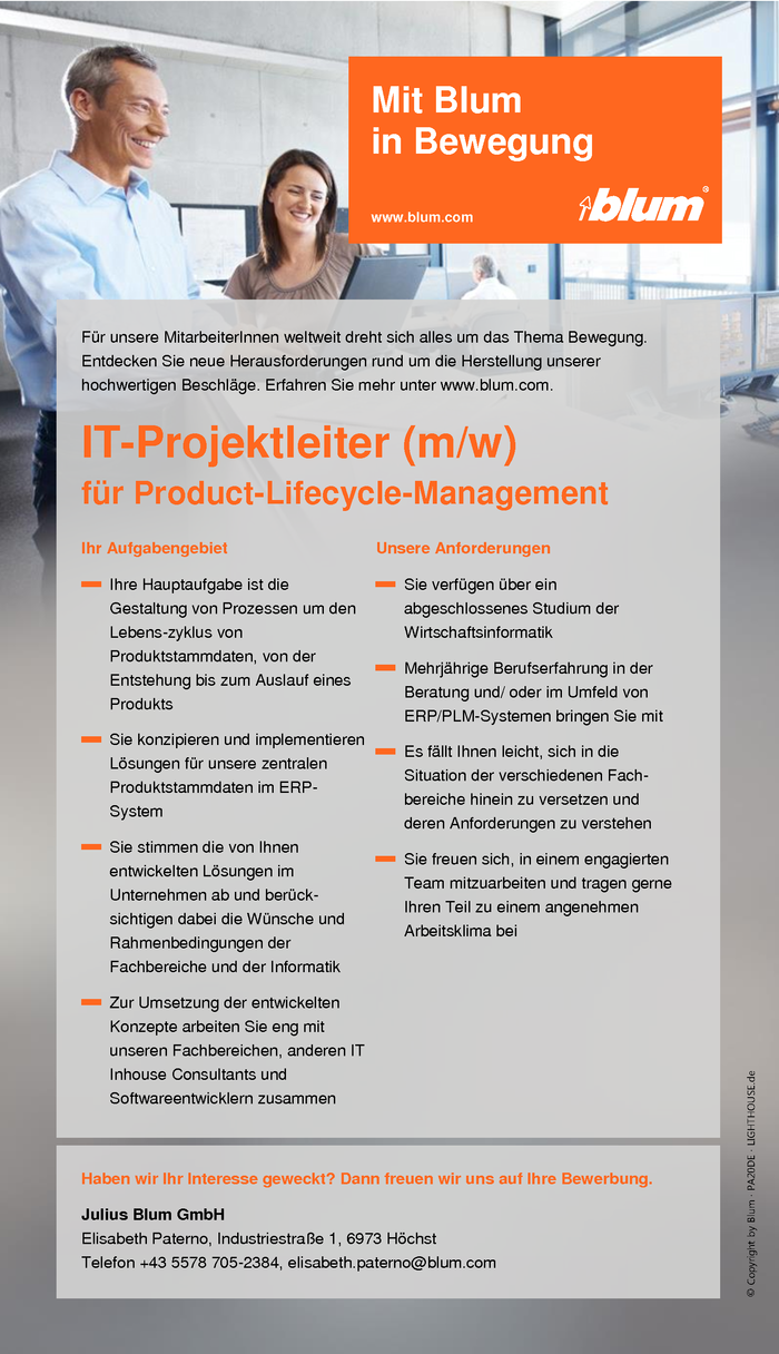 IT-Projektleiter für Product-Lifecycle-Management (m/w)