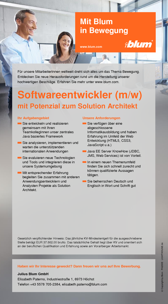 Softwareentwickler mit Potenzial zum Solution Architekt (m/w)