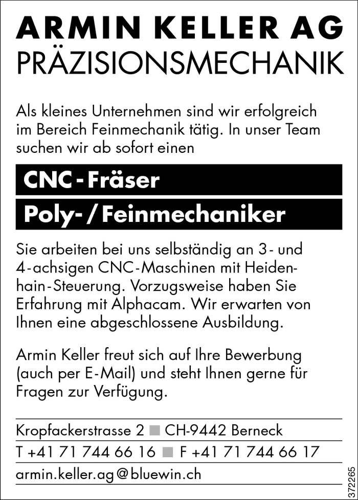 CNC - Fräser/in, Poly- / Feinmechaniker/in