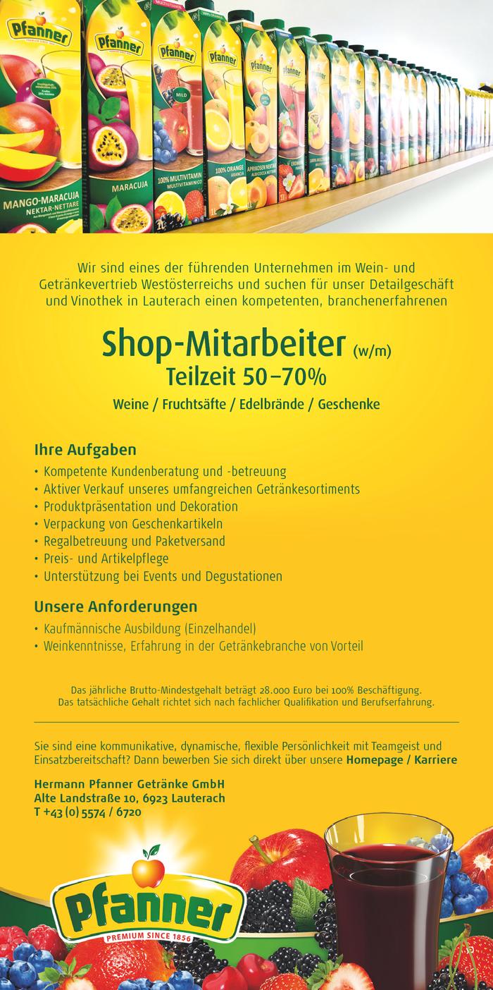 Vinothek - Getränke Verkäufer - Shop-Mitarbeiter w/m Teilzeit 50 ...