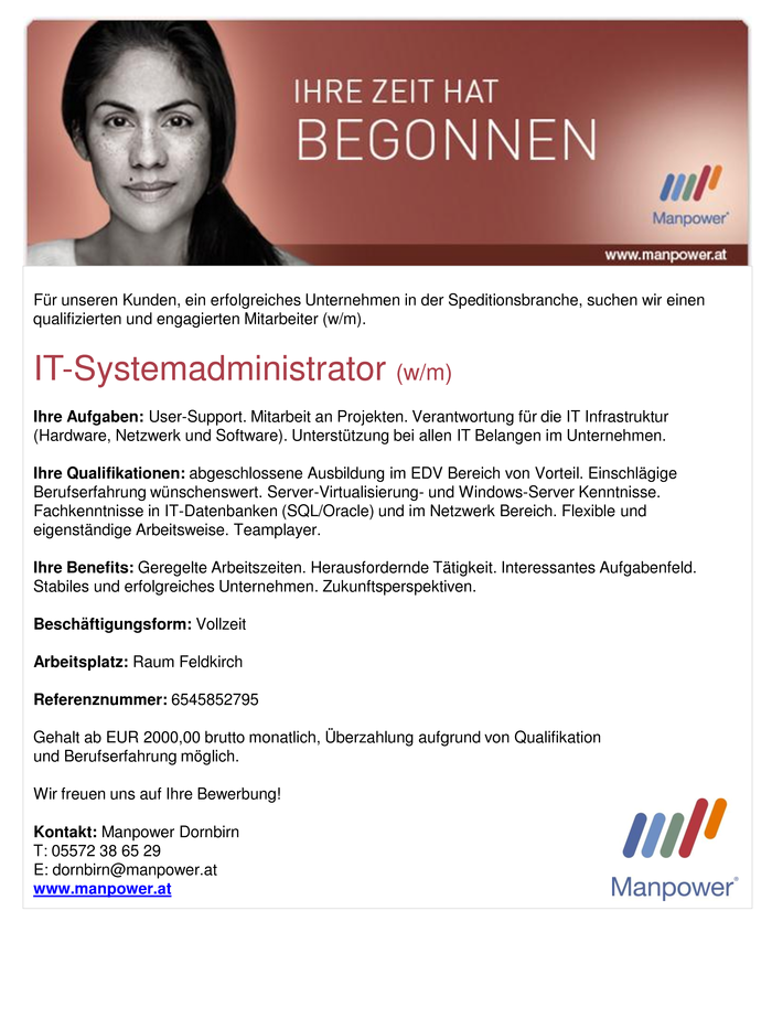 IT-Systemadministrator (w/m)