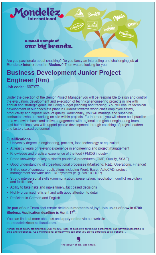 Business Development Junior Project Engineer (f/m)
