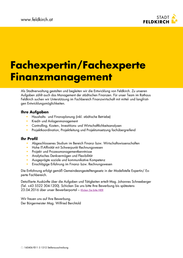 Fachexperte/in Finanzmanagement