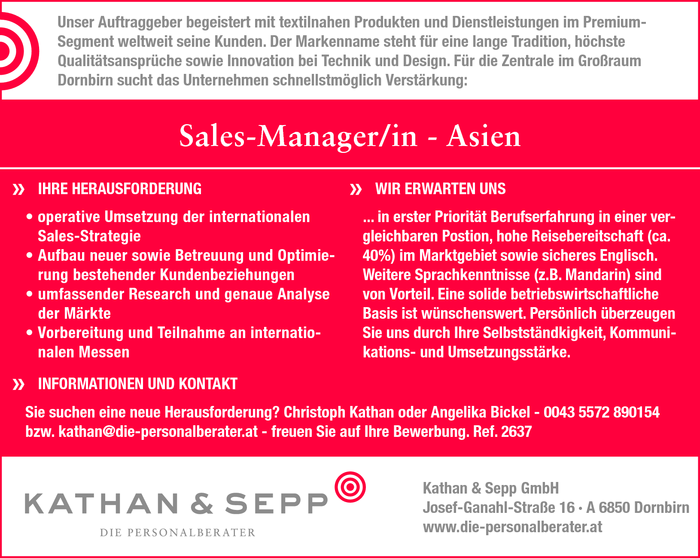 Sales-Manager/in - Asien