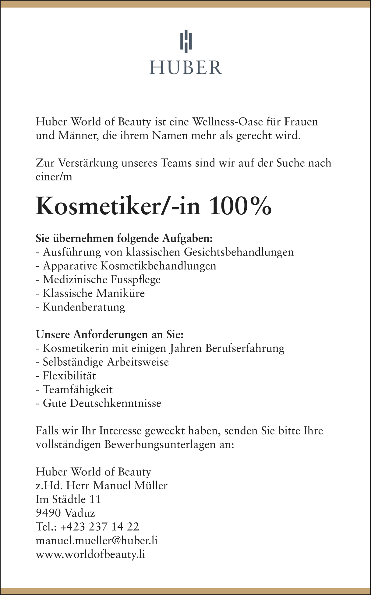 Kosmetiker/-in 100% bei Huber World of Beauty in Vaduz