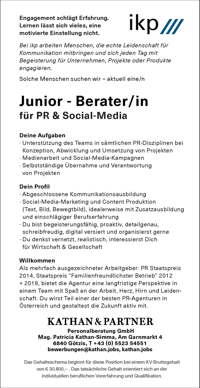 ikp Junior - Berater/in  für PR & Social Media
