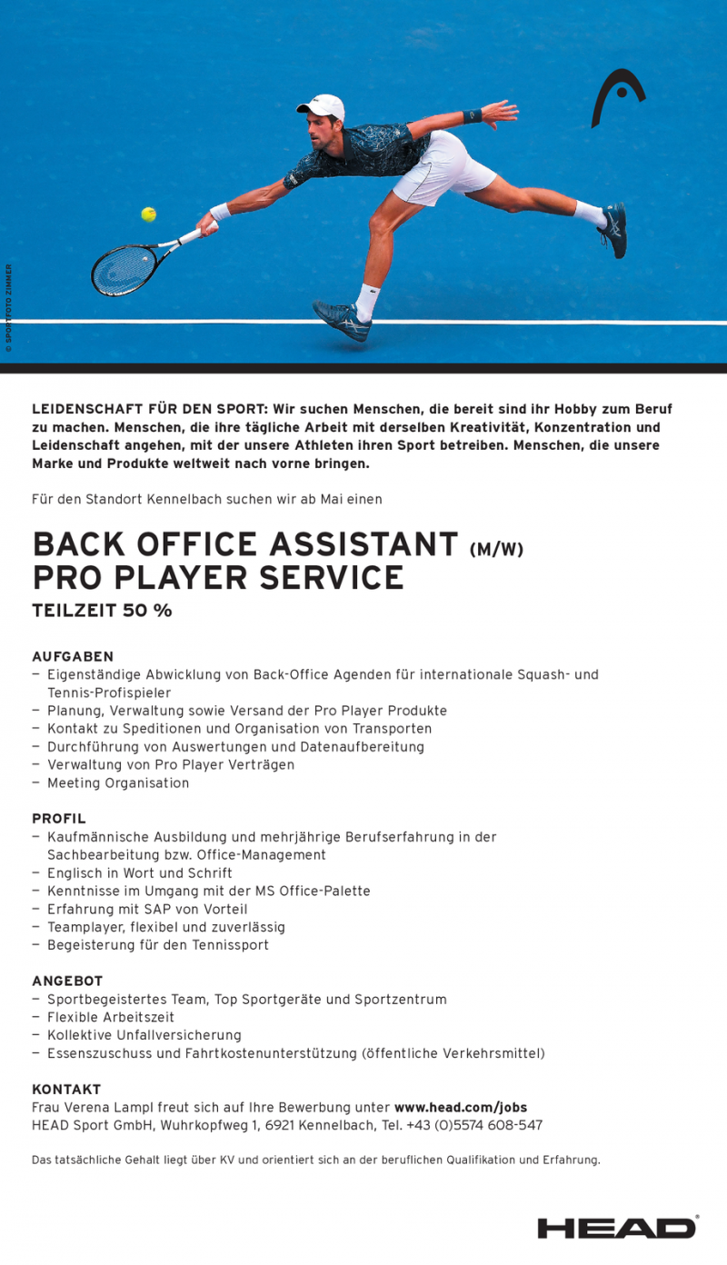 Back Office Assistant (m/w) Pro Player Service Teilzeit