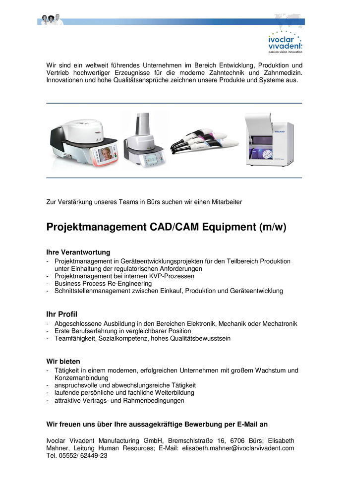 Projektmanagement CAD/CAM Equipment (m/w)