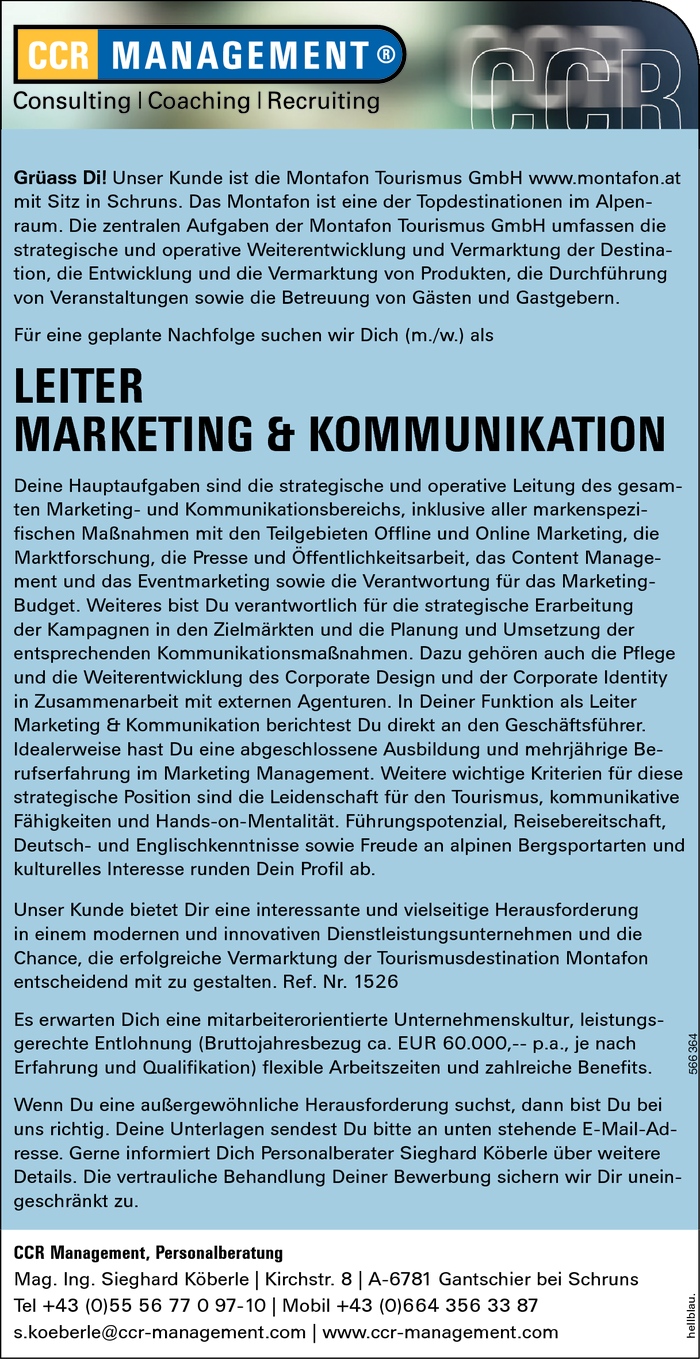 LEITER MARKETING & KOMMUNIKATION